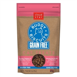 Cloud Star Grain-Free Buddy Biscuits with Savory Turkey & Cheddar Cat Treats, 3-oz. bag