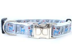 Reindeer Romp Dog Collar Silver Buckles