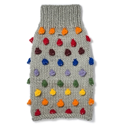 Pom Pom Wool Knit Sweater - Grey/Multi
