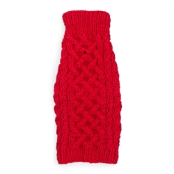 Wool Cable Knit Sweater - Red
