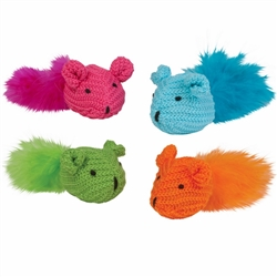 Chomper 2 Pc Knit Mouse w/ Feather