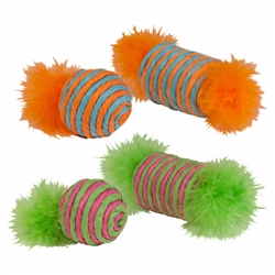Chomper 2 pc Raffia Spool and Ball w/ Feather