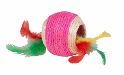 Chomper 1 pc Jute Ball w/ Feather Middle
