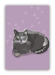 Cat, Russian Blue Sitting - Fridge Magnet