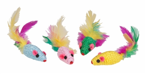 KB Feather Mouse Rattlers 4Pk