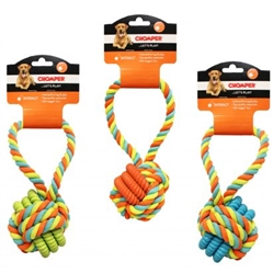 Chomper Rope with TPR rings ball with rope handle