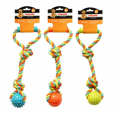 Chomper Cotton Rope Tugger with TPR Spike Ball and Plastic Handle