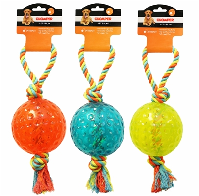 """Chomper 5"""" TPR Ball with Rope Tug"""