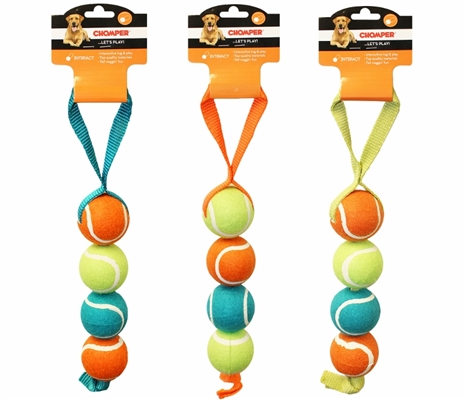 "Chomper Nylon 4"" Tennis Ball Tug"