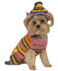 Retro Stripe Dog Sweater with Hat