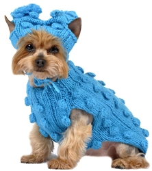 Turquoise Bobble Knit Dog Sweater with Hat
