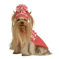 Coral Mini Bobble Knit Dog Sweater with Hat