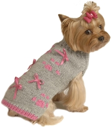 Grey Sweater with Pink Paw Prints and Ribbons