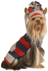 Grey, Navy and Red Stripe Dog Sweater with Hat
