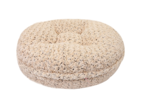 Chocolate and Beige Rosebud Round Bed