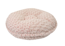 Coral and Beige Rosebud Round Bed