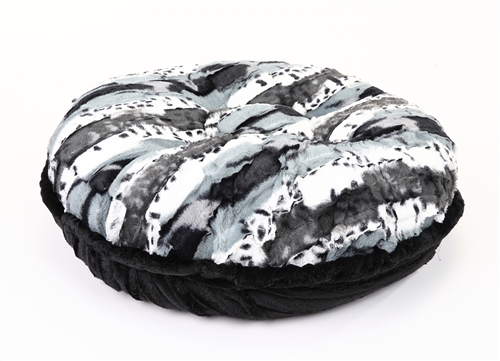 Exotic Black/White & Black Mink Round Bed