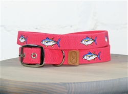 Tuna Fish Embroidered Dog Collar - Geranium Red