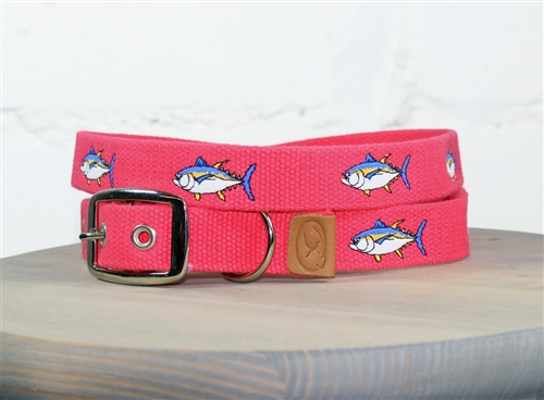 Tuna Fish Embroidered Dog Collar - Geranium Red