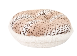 Snow Leopard and Cream Shag  Round Bed - COPY