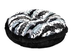 Exotic Black/White & Black Shag Round Bed