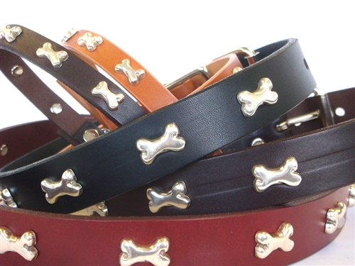 Bone Ornaments on Full-Grain Leather Collars and Leads