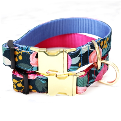FLEUR Floral Canvas Dog Collar w Rifle Paper Co. Fabric -- Midnight