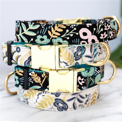 GOLDIE Black Botanical Canvas Dog Collar w Rifle Paper Co. Fabric