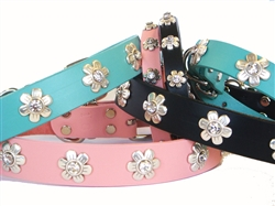 Flower Crystal Ornaments on Full-Grain Leather Collars and Leads