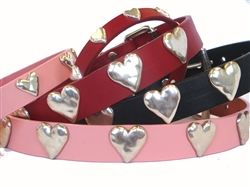 Heart Ornaments on Full-Grain Leather Collars and Leads
