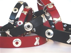 Kiss and Hug Ornaments on Full-Grain Leather Collars and Leads