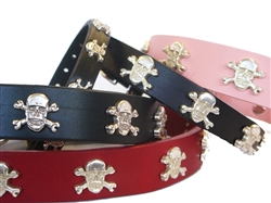Skulls Ornaments on Full-Grain Leather Collars and Leads