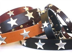 Stars Ornaments on Full-Grain Leather Collars and Leads