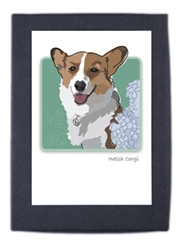 Welsh Corgi and Hydrangea - Grrreen Boxed Note Cards