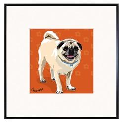 Framed Print: Pug StandingRed Background