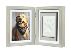Distressed Pearhead Dog or Cat Paw Print Pet Keepsake Photo Frame With Pet Pawprint Imprint Kit
