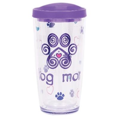 Dog Mom w/ Purple Lid - 16 oz Thermal Drinkware