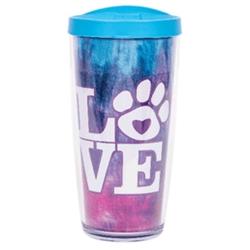 Tie Dye LOVE w/ Light Blue Lid - 16 oz Thermal Drinkware