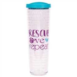 Rescue Love Repeat w/ Teal Lid - 24 oz Thermal Drinkware