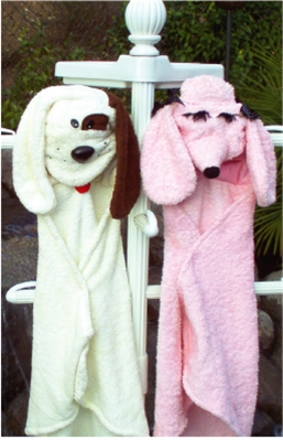 "HOODED TERRY BATH SHEET ""PUPPY "" / ONE-FITS-ALL"