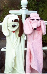 "HOODED TERRY BATH SHEET ""POODLE "" / ONE-FITS-ALL"