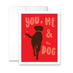 Valentine's Day  You Me and the Dog (blank) Greeting Card - Pack of 6 cards