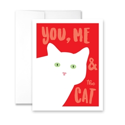 Valentine's Day  You Me and the Cat (blank) Greeting Card - Pack of 6 cards