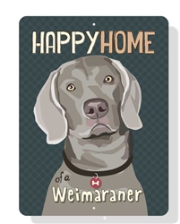 "Happy Home of a Weimaraner sign - 9"" x 12"" - Slate Blue"
