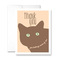 Thank You for Taking Care of Me (Cat) Greeting Card - Pack of 6 cards
