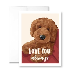 Love You Always (Apricot Doodle) Greeting Card- Pack of 6 cards