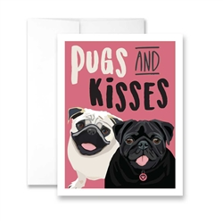 Pugs and Kisses (Black and White Pugs) Greeting Card- Pack of 6 cards