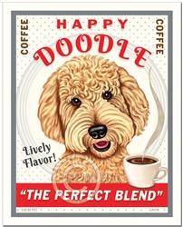 Happy Doodle Coffee - 8x10 Goldendoodle Art Print