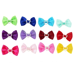 150 pc Canister of Solid Color Bows with Small Heart attached