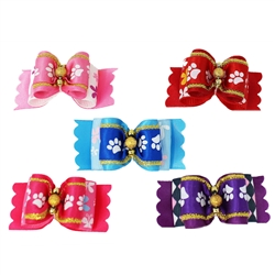20 pc Paw Print Bows with Gold
